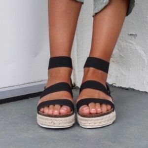 Black Espadrille Platform Sandal